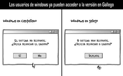Windows en castellano vs. Windows en gallego