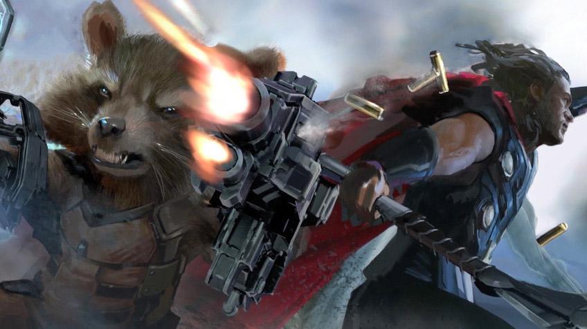 Molón detalle de concept art con Rocket y Thor mano a mano en la batalla