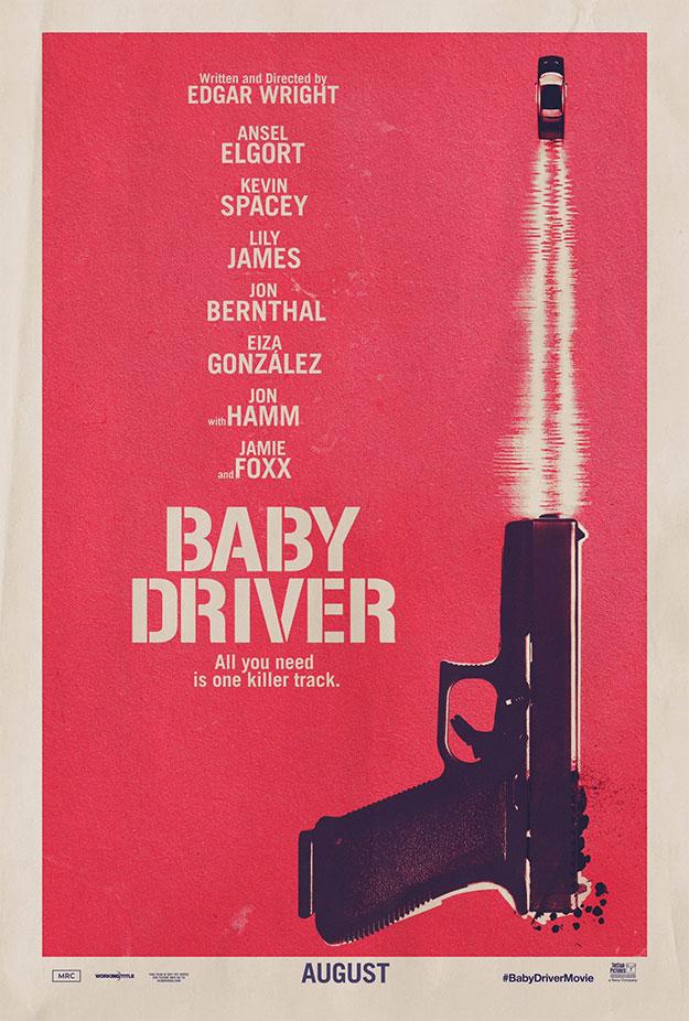 El primer cartel de Baby Driver, textura de asfalto!