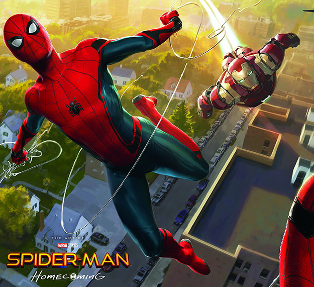 Concept art de Spider-Man: Homecoming con Spider-Man y nuevamente Iron Man