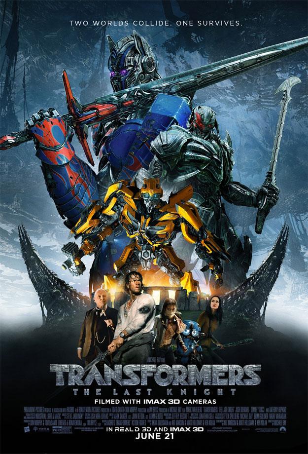El mismo cartel del otro día de Transformers: el último caballero pero ajustado los trozos