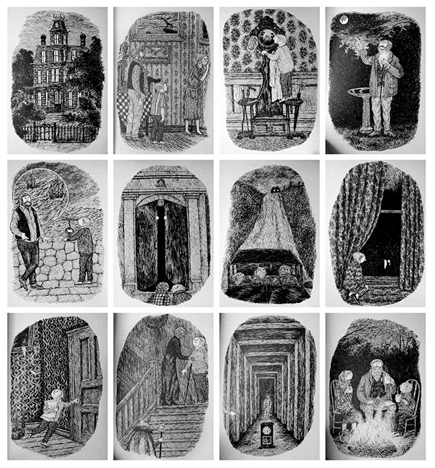 Dibujos de Edward Gorey para The House With A Clock In Its Walls