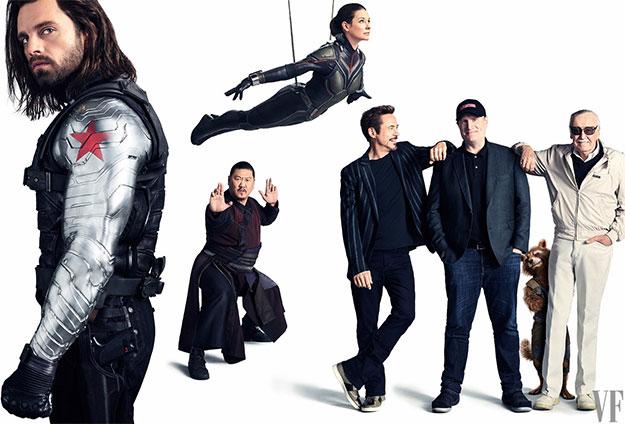 "Sebastian Stan como Winter Soldier, Benedict Wong como Wong, Evangeline Lilly como The Wasp, Robert Downey Jr. como Tony Stark, el presi de Marvel Studios Kevin Feige, y Stan ""The Man"" Lee"