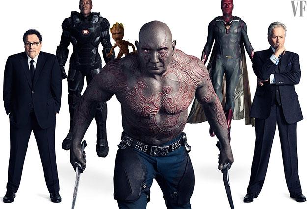 Jon Favreau como Happy Hogan, Don Cheadle como War Machine, Vin Diesel como la voz de Groot, Dave Bautista como Drax, Paul Bettany como Vision, u Michael Douglas como el Dr. Hank Pym