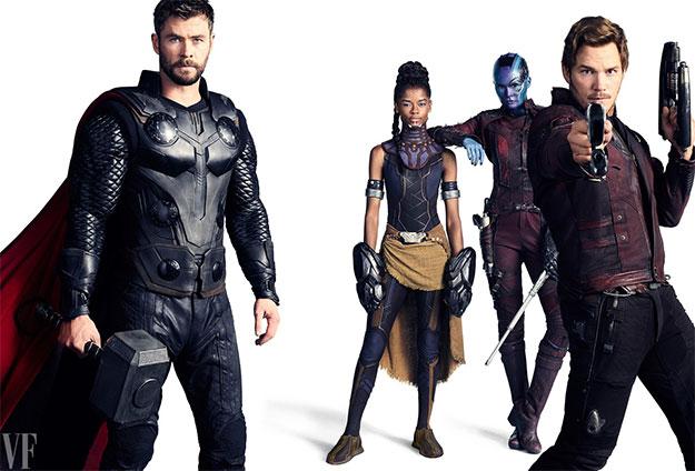 Chris Hemsworth como Thor, Letitia Wright como Shuri, Karen Gillan como Nebula, y Chris Pratt como Star-Lord