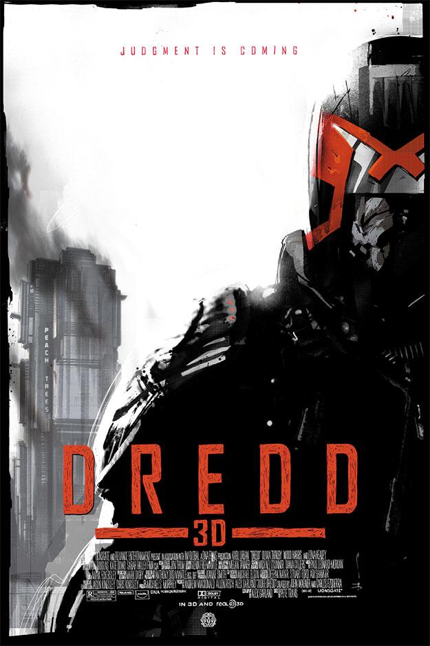 Fantástico póster Mondo de Dredd 3D obra de Jock