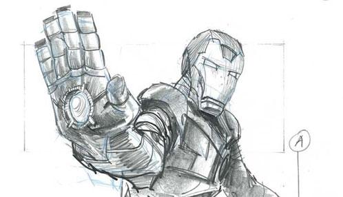 Sketch del storyboard de Iron Man 2... díselo a la mano