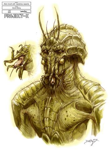 Arte conceptual de District 9 - Diseño propuesta para el aspecto de los alien