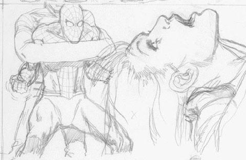 Detalle del storyboard del Spider-Man de James Cameron: ¿Sandman?