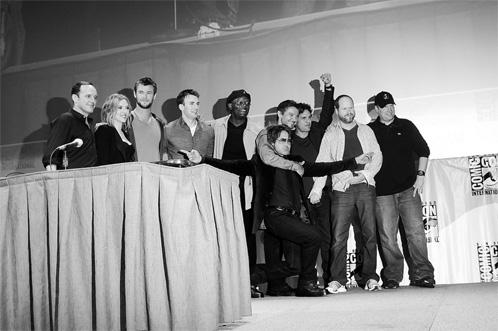 Clark Gregg, Scarlett Johansson, Chris Hemsworth, Chris Evans, Samuel L. Jackson, Robert Downey Jr., Jeremy Renner, Mark Ruffalo, Joss Whedon y Kevin Feige