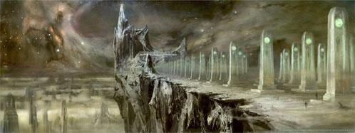 El planeta Oa: Cementerio y Catedral - concept art oficial de Green Lantern