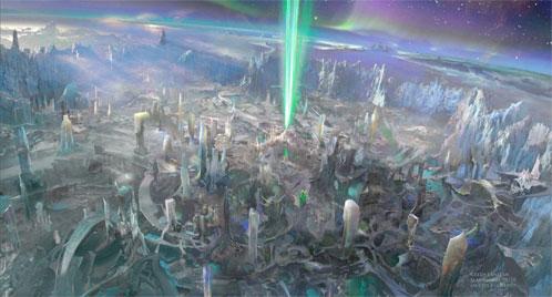 El planeta Oa: rayo de luz - concept art oficial de Green Lantern