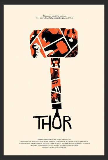 Cartel de Thor realizado por Olly Moss en exclusiva para Marvel Studios