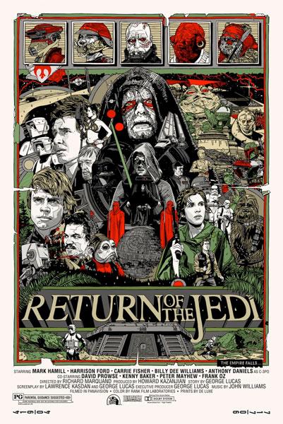 Cartel de El retorno del jedi por Tyler Stout