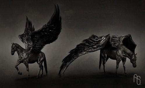 Arte conceptual de Furia de Titanes: propuesta de Pegaso