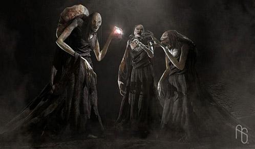 Arte conceptual de Furia de Titanes: propuesta para las brujas de Estigia
