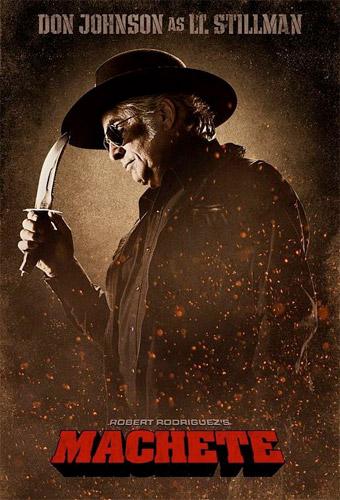 Cartel de Machete: Don Johnson como Teniente Stillman