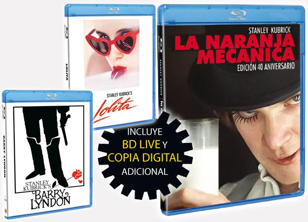 Barry Lyndon, Lolita y La naranja mecánica edición 40 aniversario en Blu-Ray, el premio son dos de la del vaso de leche