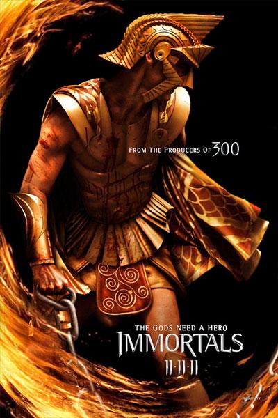 Cartel de Immortals de Tarsem Singh. Luke Evans como Zeus