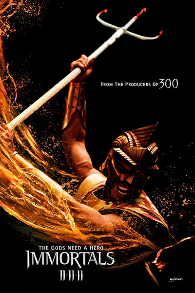 Cartel de Immortals de Tarsem Singh. Kellan Lutz como Poseidón