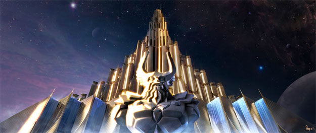 Concept Art de Thor: entrada al palacio de Odín