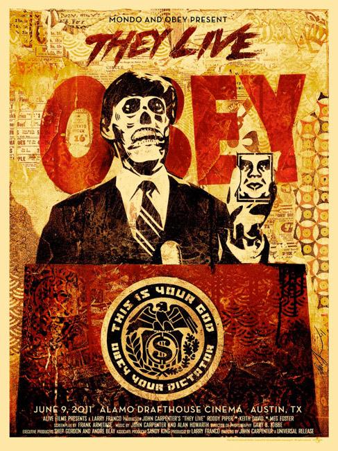 Magistral cartel de Están vivos obra de Shepard Fairey