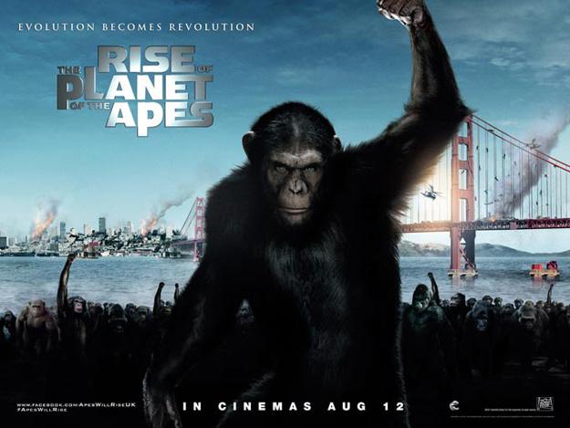 Uno de los muchos carteles de El origen del planeta de los simios