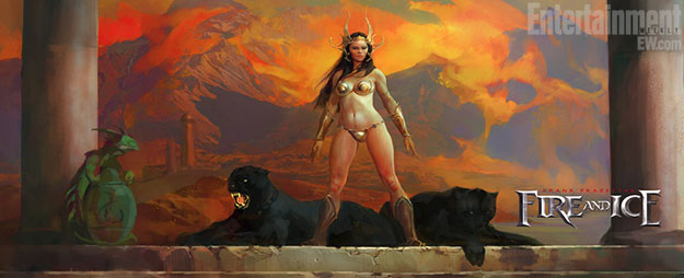 Concept art a lo Frank Frazetta para la live-action movie de Tygra: hielo y fuego