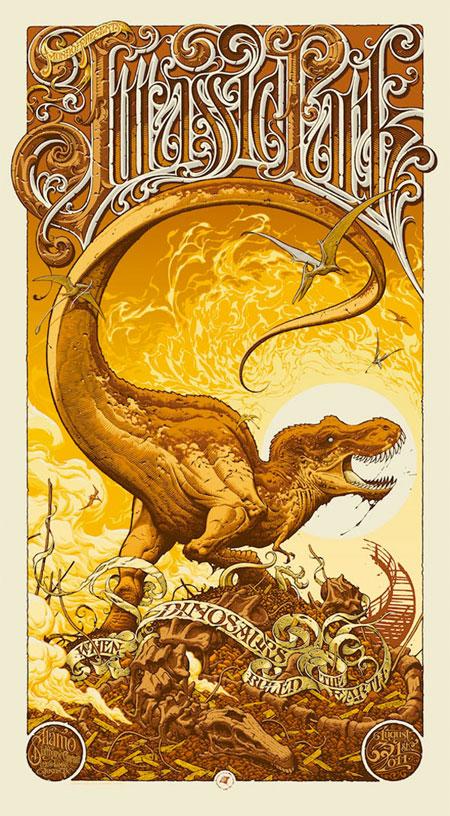 Magistral cartel de Parque Jurásico obra de Aaron Horky para Mondo