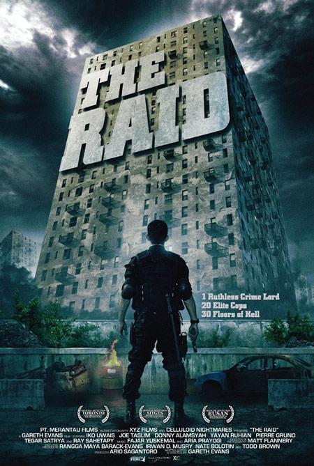"""Póster festivalero de The Raid """"1 implacable señor del crimen, 20 soldados de élite y 30 pisos infernales"""""""