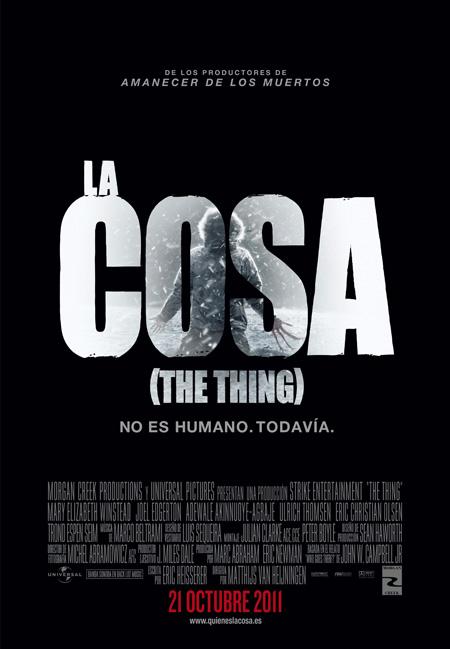 Cartel español de La cosa, que no es otra cosa que la precuela de la otra La cosa