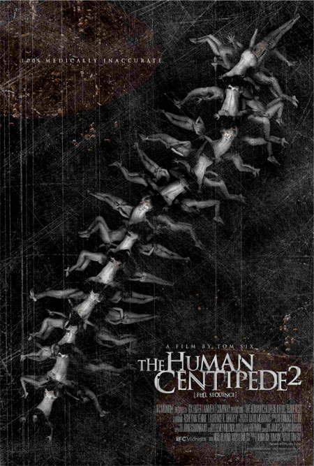 Grotesco cartel de The Human Centipede 2