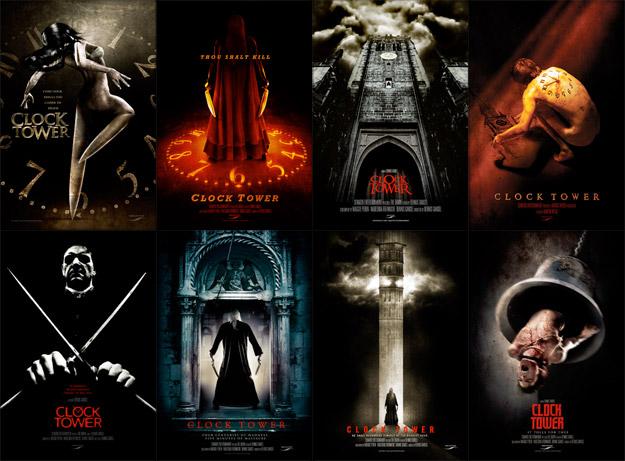 Múltiples carteles promo de la versión cinematográfica de Clock Tower
