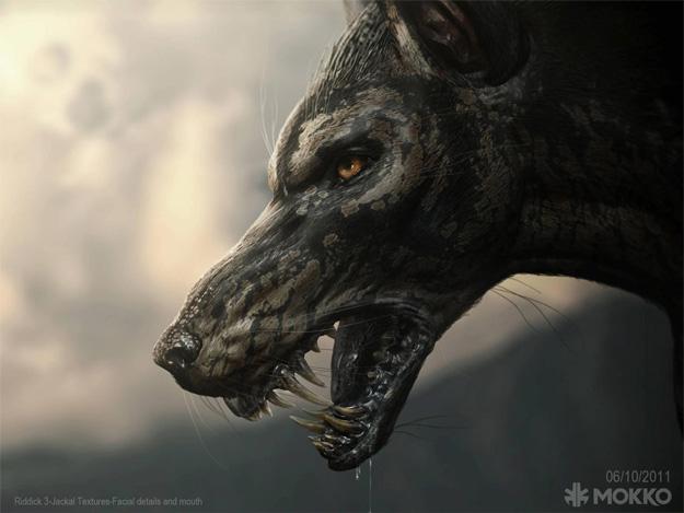 Concept Art de un jackal, criatura que veremos en Riddick