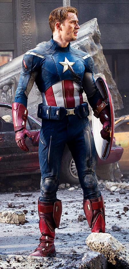 Este es el el traje del Capitán América en Los Vengadores
