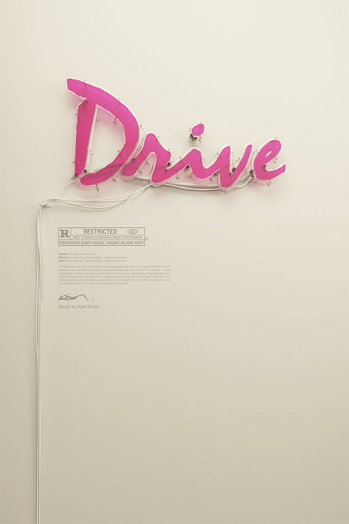 Magnífico cartel físico de neón para Drive de Nicolas Widing Refn