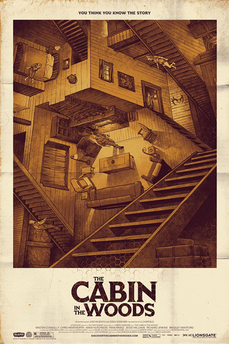 Fabuloso cartel Mondo para The Cabin in the Woods
