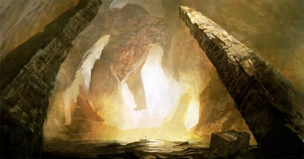 El interior del Tártaro con Kronos ante Zeus