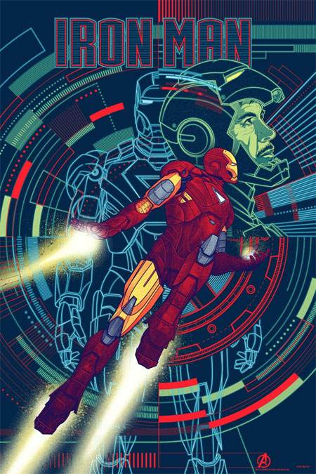 Póster Mondo de Los Vengadores: Iron Man obra de Kevin Tong