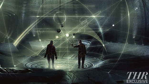 Concept art de la escena en la que los astronautas entra en la sala del mapa de la galaxia