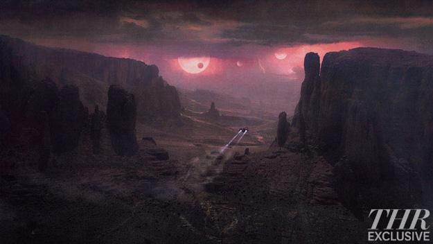 Concept art de la llegada de la Prometheus al misterioso planeta