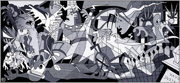 Magistral representación del Guernica con los miembros el universo X-Men