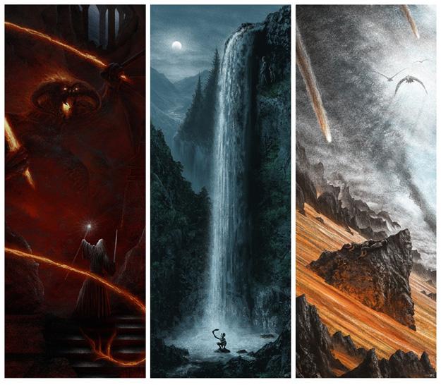 Los tres carteles de la trilogía de El Señor de los Anillos presentados por Mondo para la Comic-Con