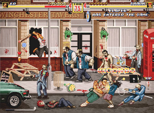 Magnífico cuadro de Shaun of the Dead en modo juego de consola clásico