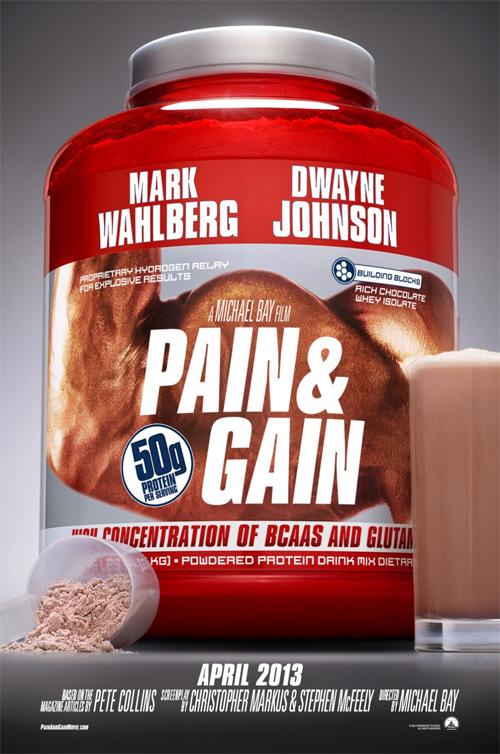 Uno de los carteles de Pain & Gain o la promoción de batidos energéticos modo bombazo