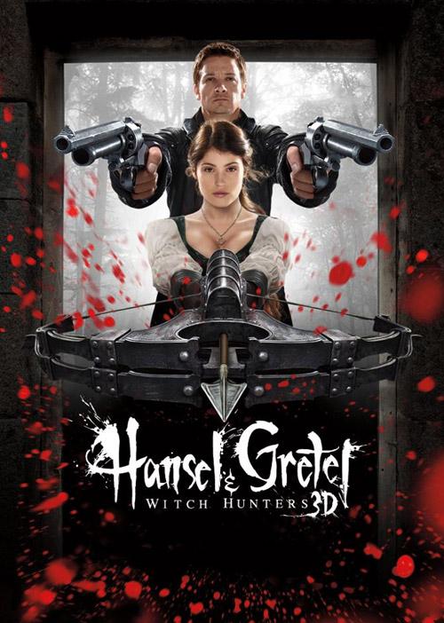 Y un cartel 3D de Hansel y Gretel: cazadores de brujas