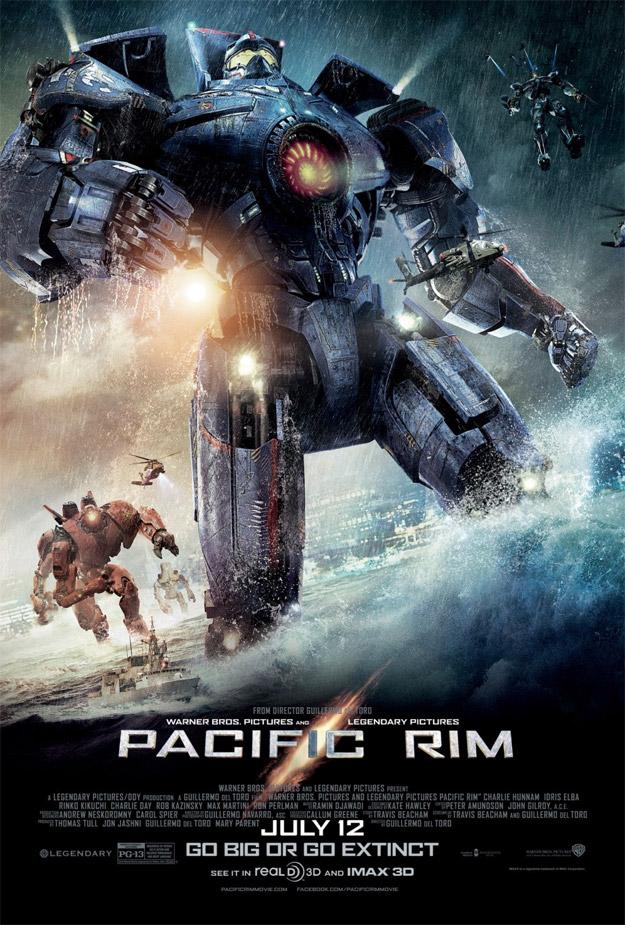 Un cartel de Pacific Rim repleto de Jaegers que van a zurrar Kaijus