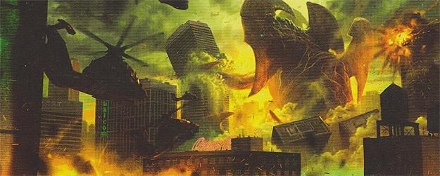 Clásica escena de los films nipones de la época Godzilla... una criatura kaiju arrasa con la ciudad