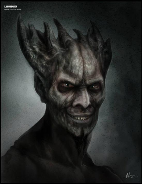 Concept art del demonio interpretado por Bill Nighy en I, Frankestein