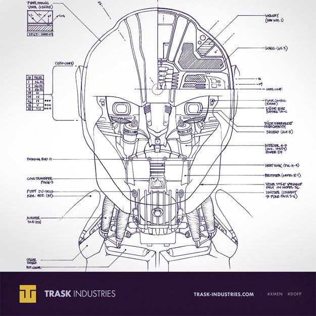 Una blueprint de la cabeza de un Centinela de Trask Industries